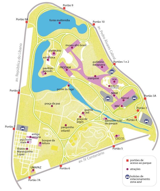 Mapa Parque Ibirapuera