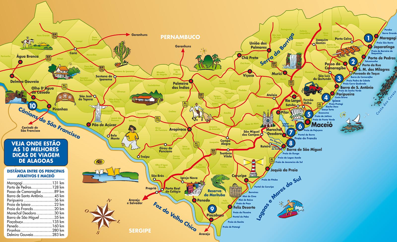 Mapa de praias de Alagoas