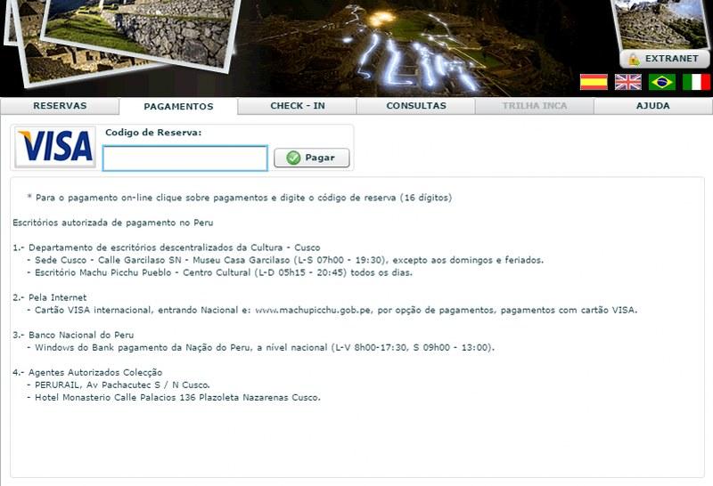 Como comprar o ingresso de Machu Picchu pela internet