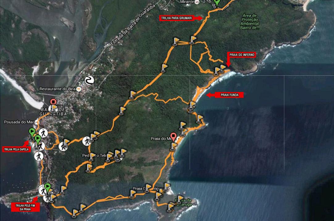 Mapa praias selvagens do Rio de Janeiro