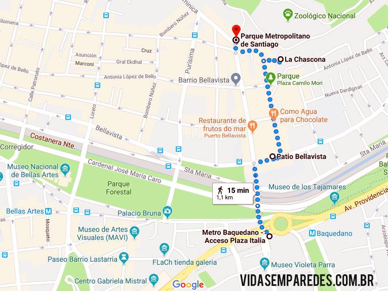 Mapa de como chegar La Chascona: a casa de Pablo Neruda em Santiago