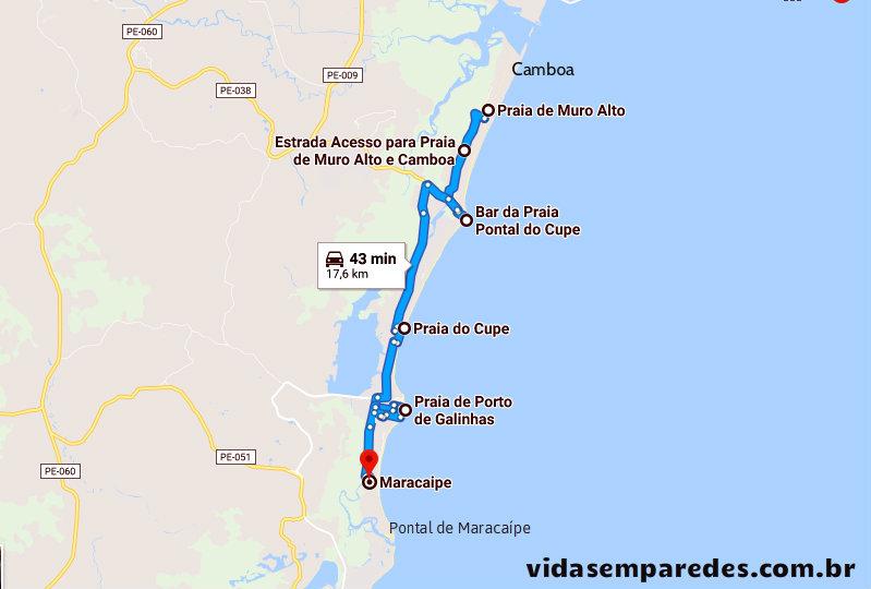 Mapa das Praias de Porto de Galinhas - Pernambuco