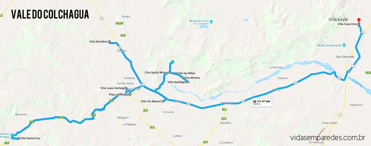 Mapa Vinícolas Vale do Colchagua - Chile