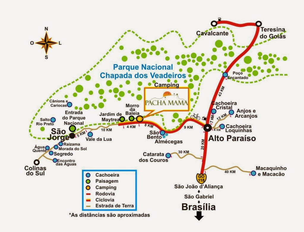 Mapa Chapada dos Veadeiros