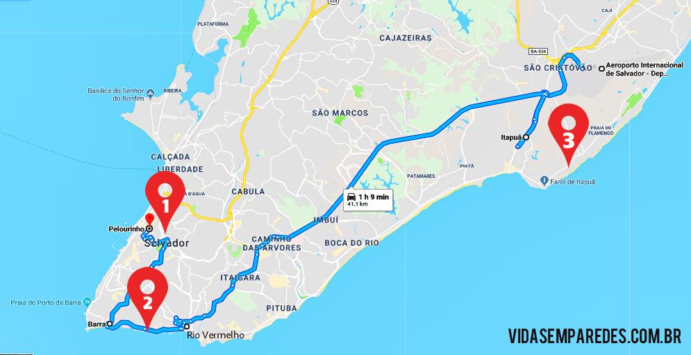 Mapa regiões para se hospedar em Salvador