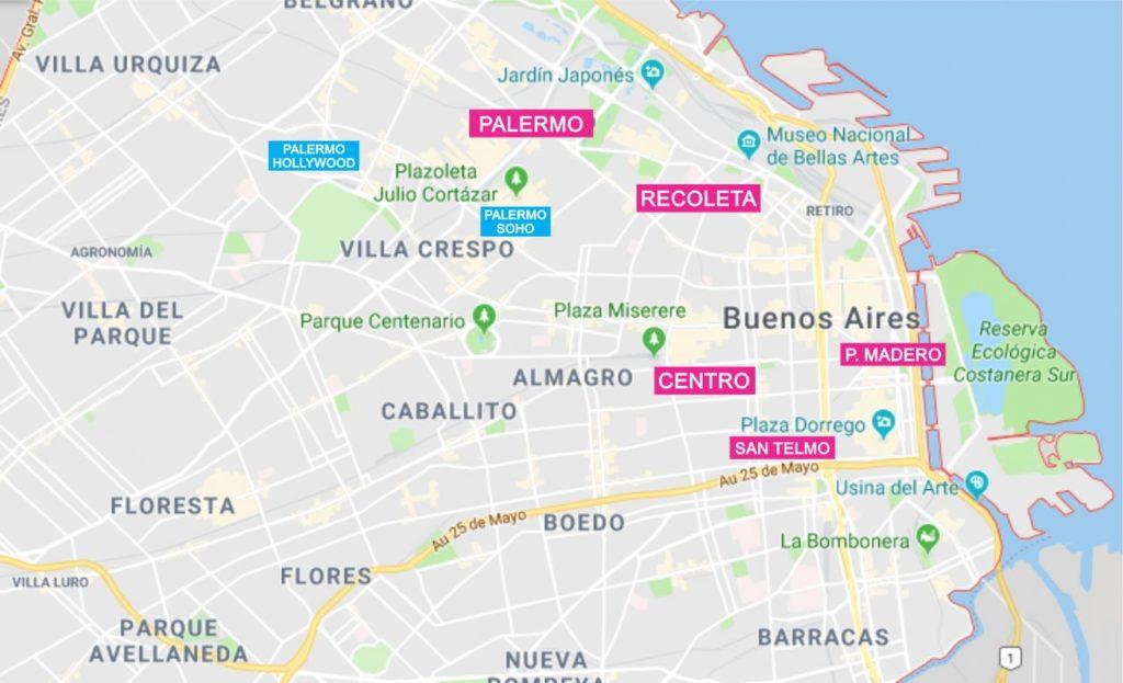 mapa bairros de Buenos Aires