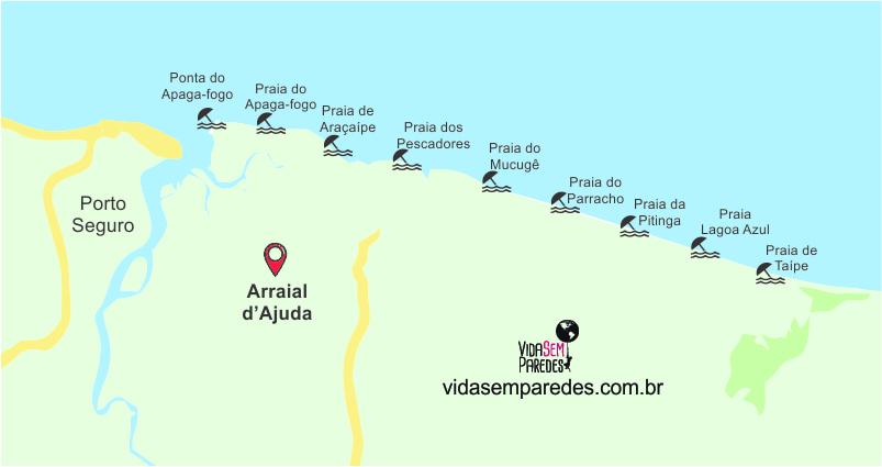 mapa praias arraial dajuda